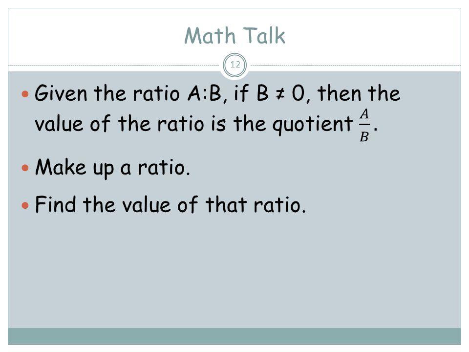Math Talk 12