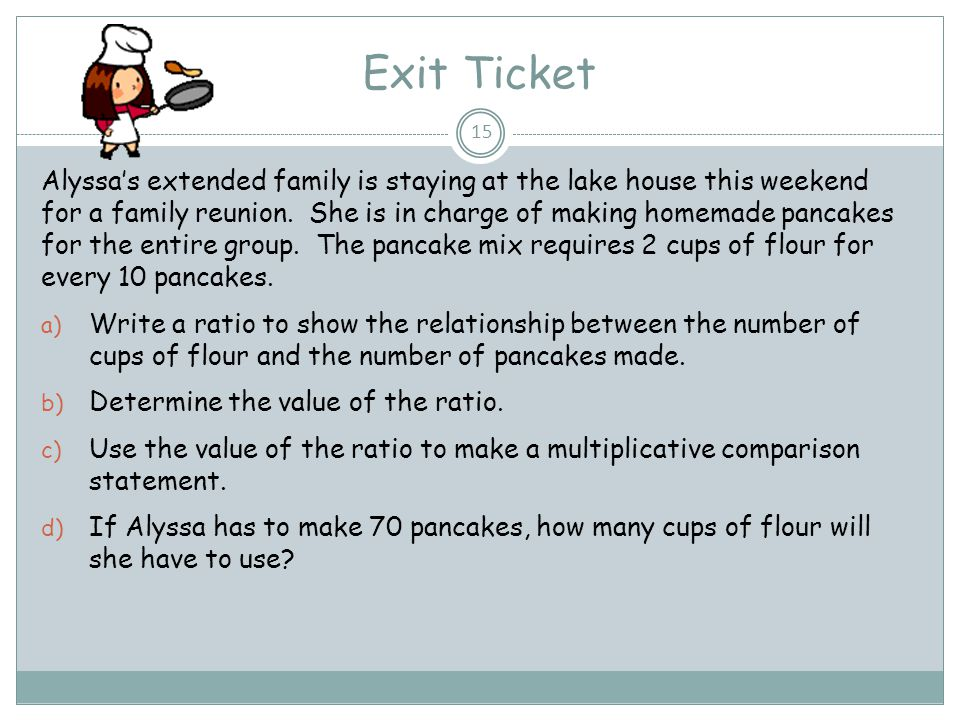 Exit Ticket Alyssa's extended family is staying at the lake house this weekend for a family reunion. She is in charge of making homemade pancakes for
