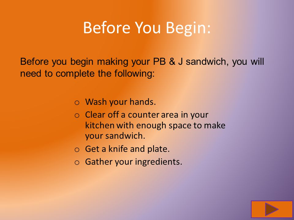 Before You Begin: o Wash your hands. o Clear off a counter area in your kitchen with enough space to make your sandwich. o Get a knife and plate. o Ga