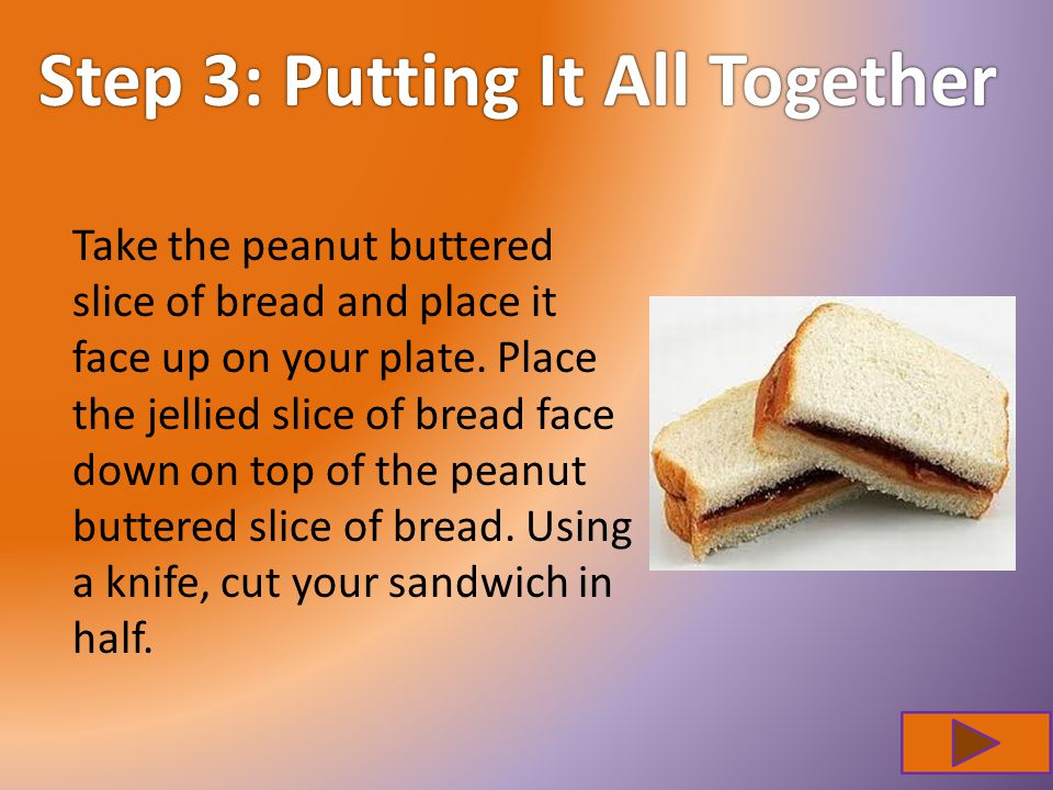 Step 3: Putting It All TogetherStep 3: Putting It All Together Take the peanut buttered slice of bread and place it face up on your plate.