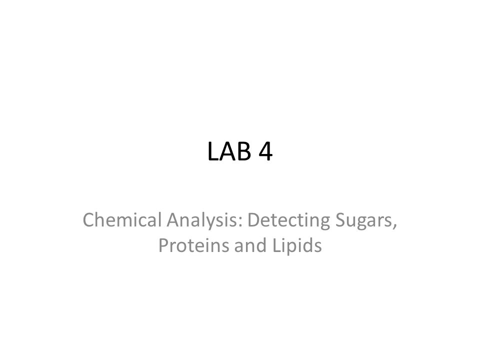 LAB 4 Chemical Analysis: Detecting Sugars, Proteins and Lipids