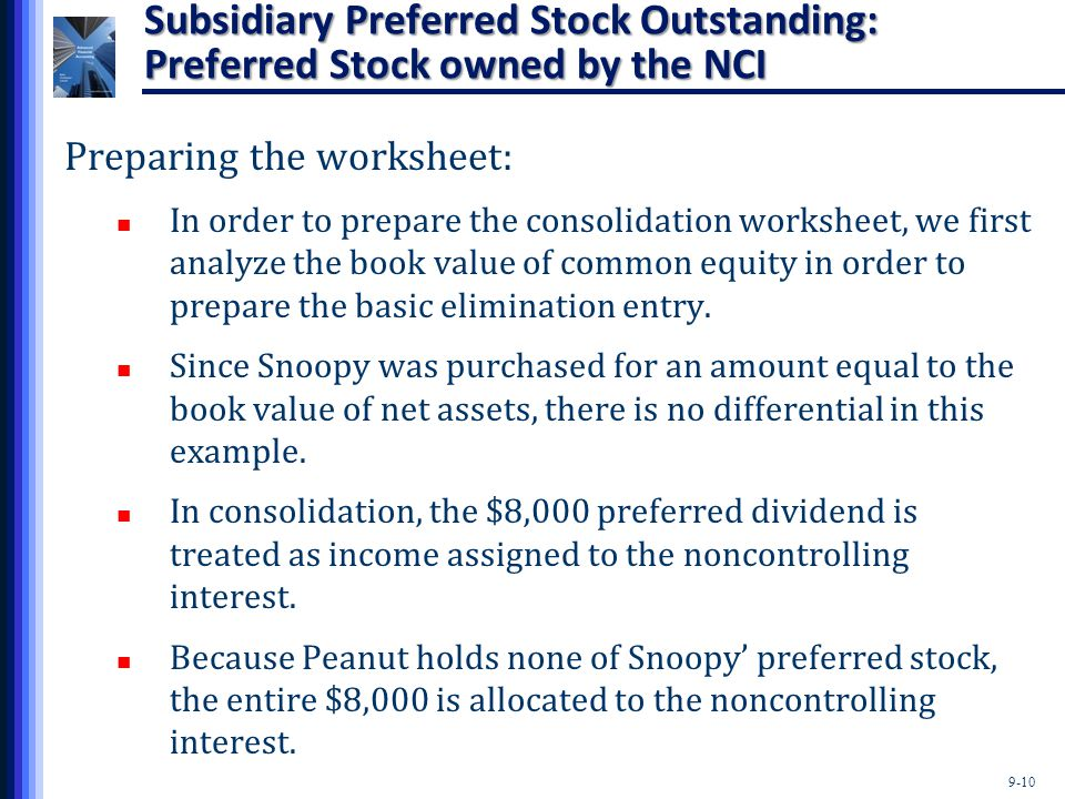9-10 Subsidiary Preferred Stock Outstanding: Preferred Stock owned by the NCI Preparing the worksheet: In order to prepare the consolidation worksheet