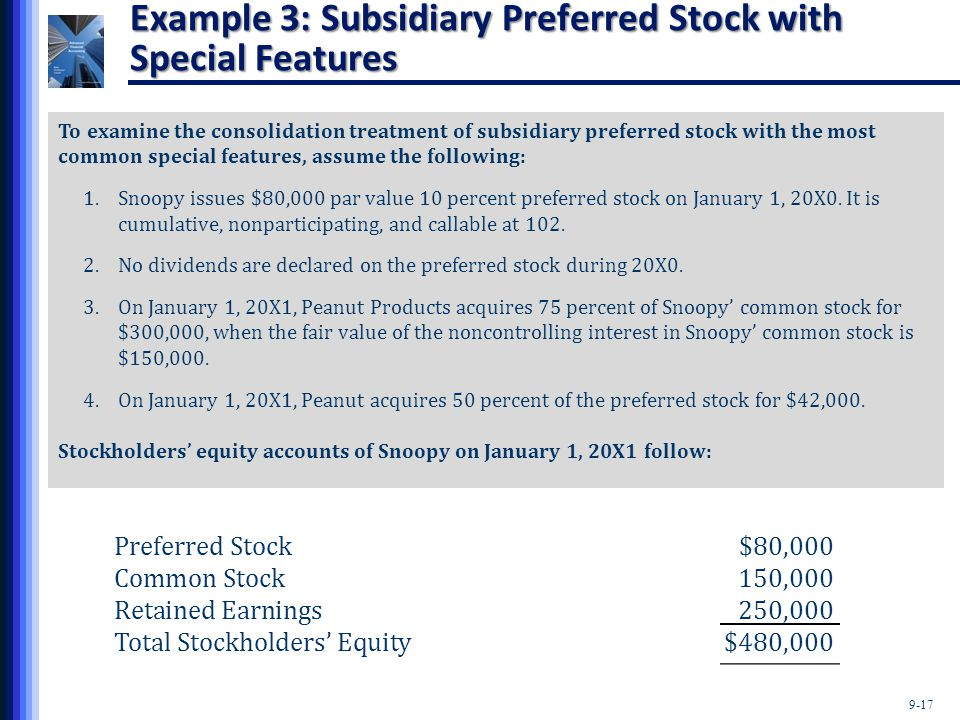 9-17 Example 3: Subsidiary Preferred Stock with Special Features To examine the consolidation treatment of subsidiary preferred stock with the most co