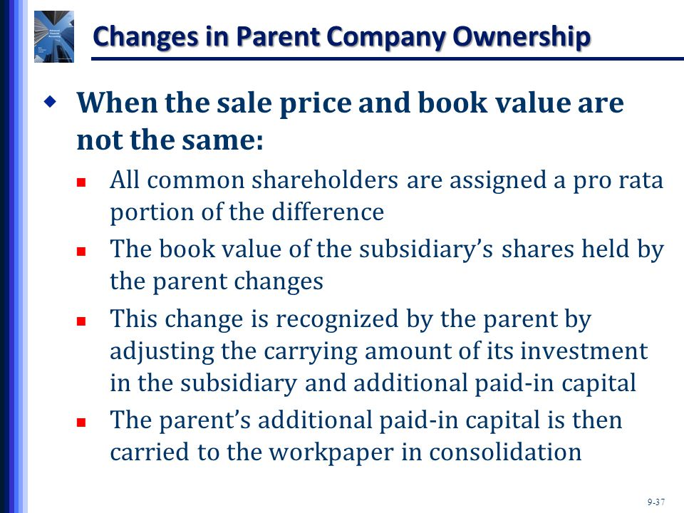 9-37 Changes in Parent Company Ownership  When the sale price and book value are not the same: All common shareholders are assigned a pro rata portio