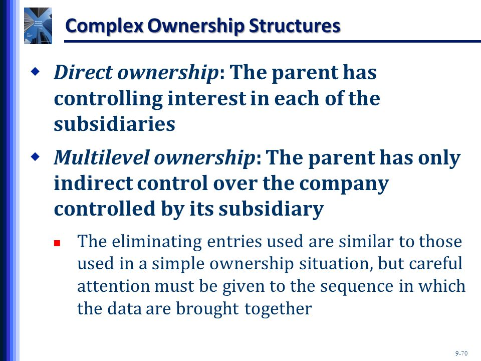 9-70 Complex Ownership Structures  Direct ownership: The parent has controlling interest in each of the subsidiaries  Multilevel ownership: The pare
