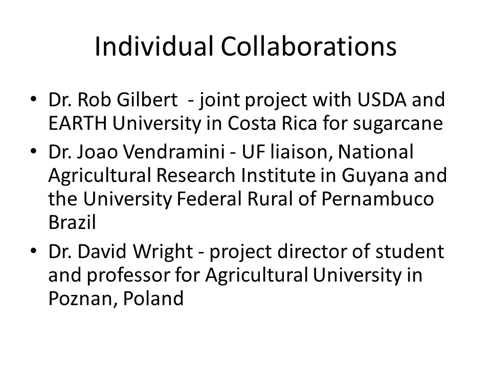 Individual Collaborations Dr.