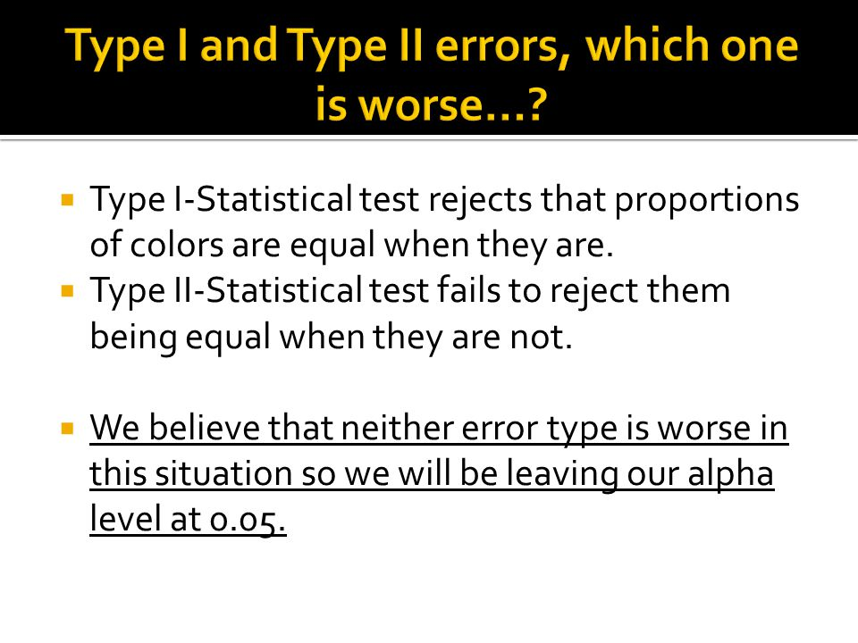  Type I-Statistical test rejects that proportions of colors are equal when they are.  Type II-Statistical test fails to reject them being equal when