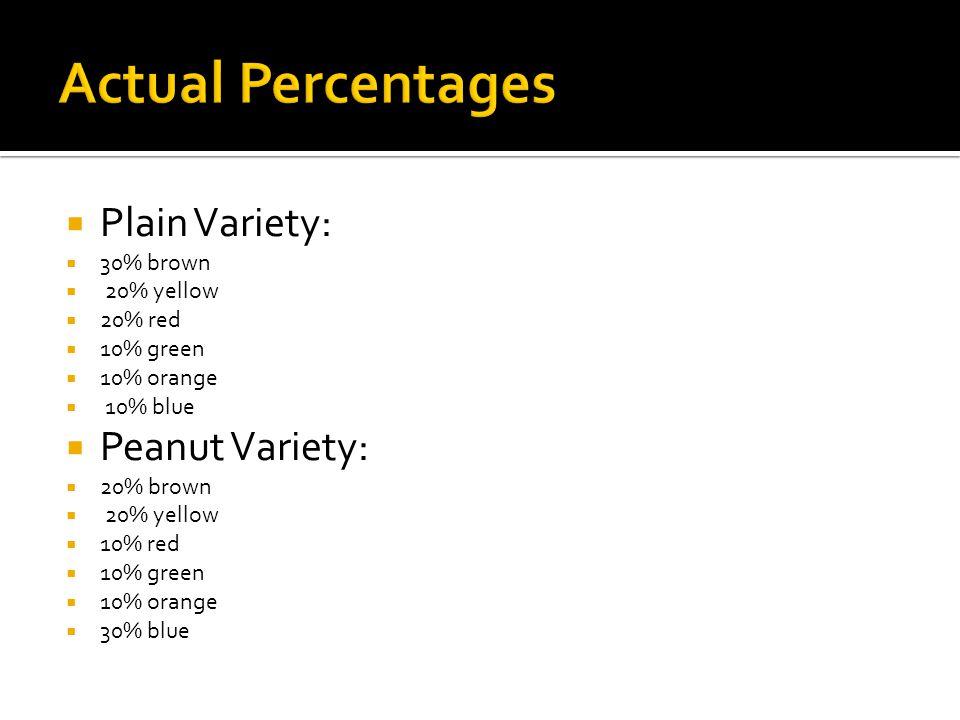  Plain Variety:  30% brown  20% yellow  20% red  10% green  10% orange  10% blue  Peanut Variety:  20% brown  20% yellow  10% red  10% gre