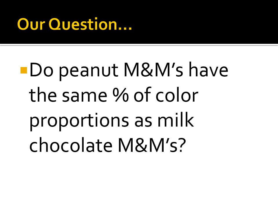  Do peanut M&M's have the same % of color proportions as milk chocolate M&M's?