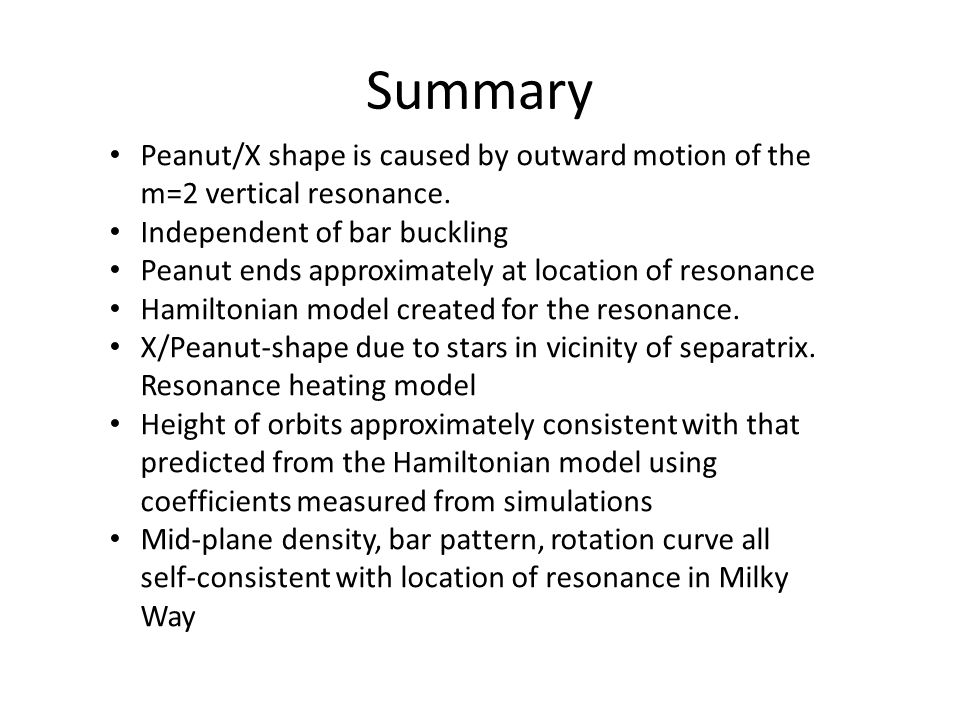 Summary Peanut/X shape is caused by outward motion of the m=2 vertical resonance. Independent of bar buckling Peanut ends approximately at location of