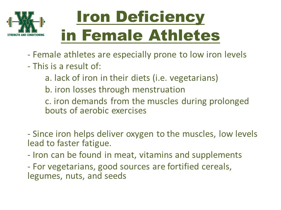 Iron Deficiency in Female Athletes - Female athletes are especially prone to low iron levels - This is a result of: a.