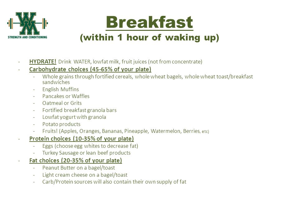 Breakfast (within 1 hour of waking up) -HYDRATE.