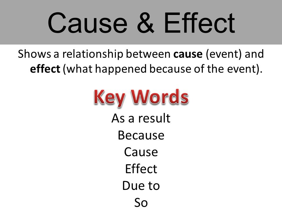 Shows a relationship between cause (event) and effect (what happened because of the event). As a result Because Cause Effect Due to So Cause & Effect