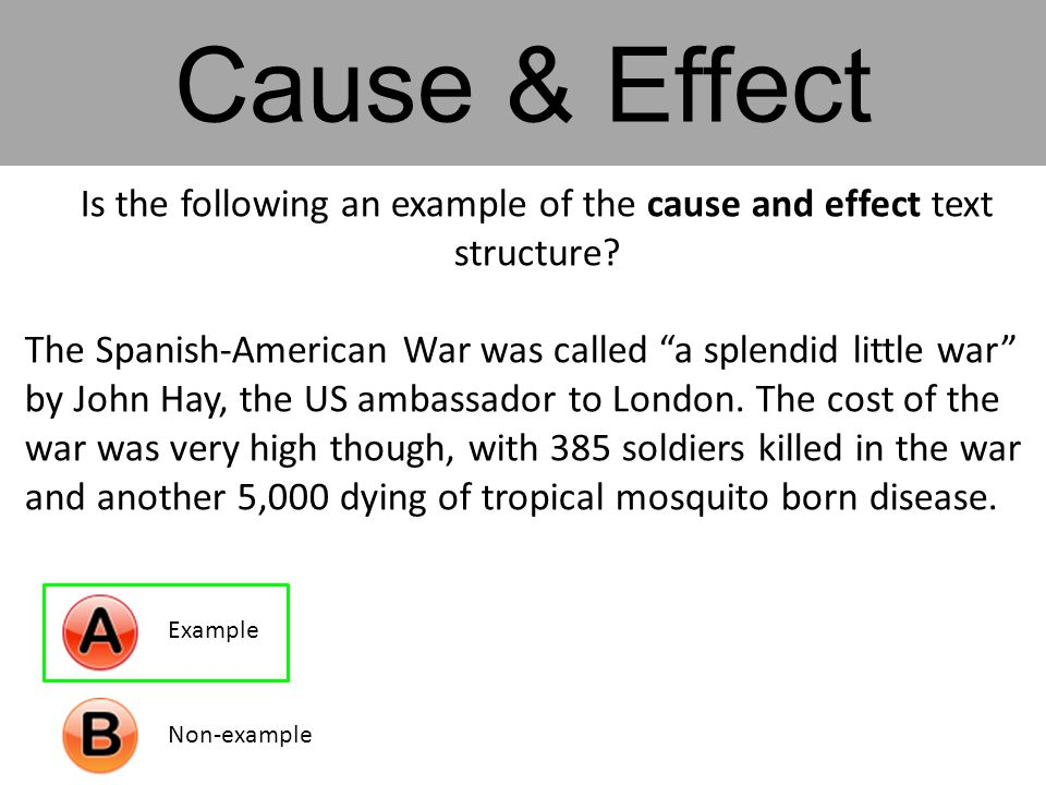 Is the following an example of the cause and effect text structure.