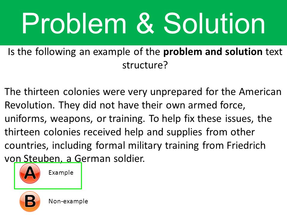 Is the following an example of the problem and solution text structure.