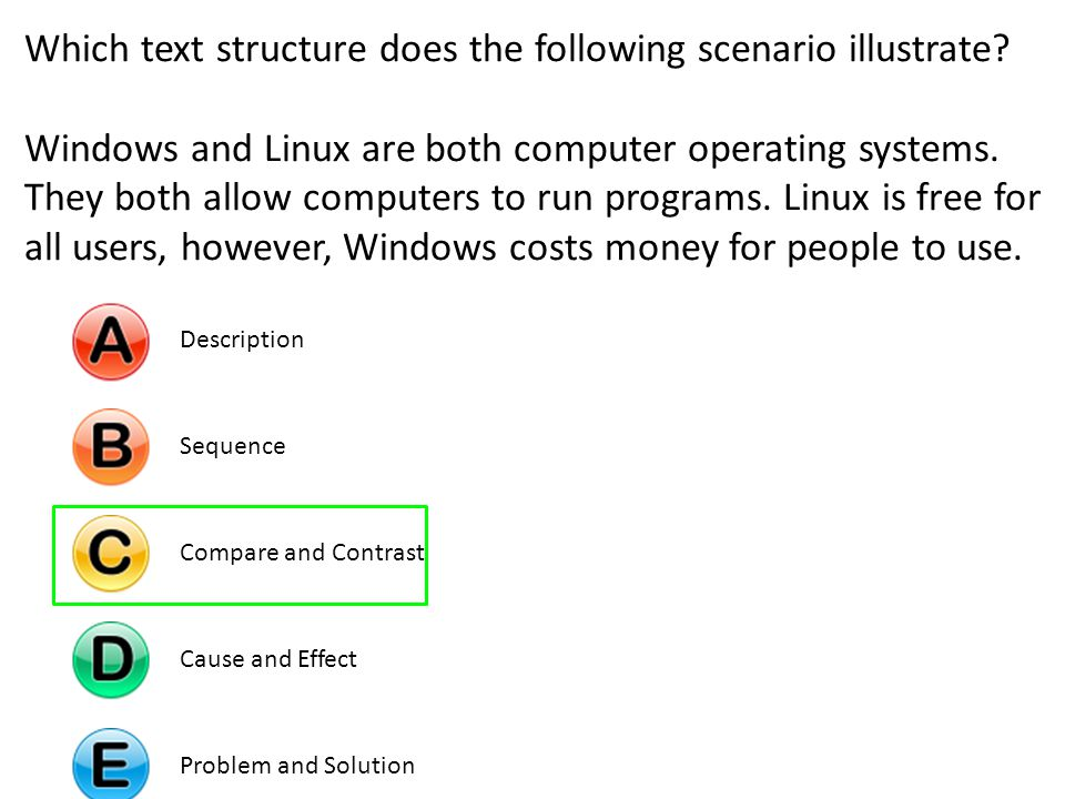 Which text structure does the following scenario illustrate? Windows and Linux are both computer operating systems. They both allow computers to run p