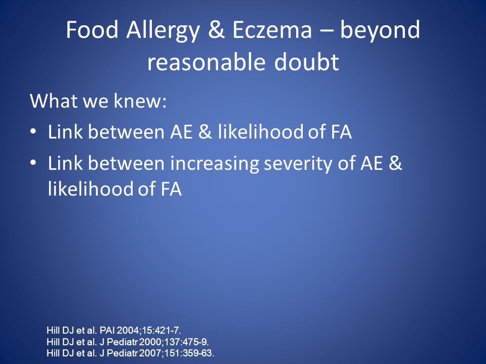 Food Allergy & Eczema – beyond reasonable doubt What we knew: Link between AE & likelihood of FA Link between increasing severity of AE & likelihood of FA Hill DJ et al.