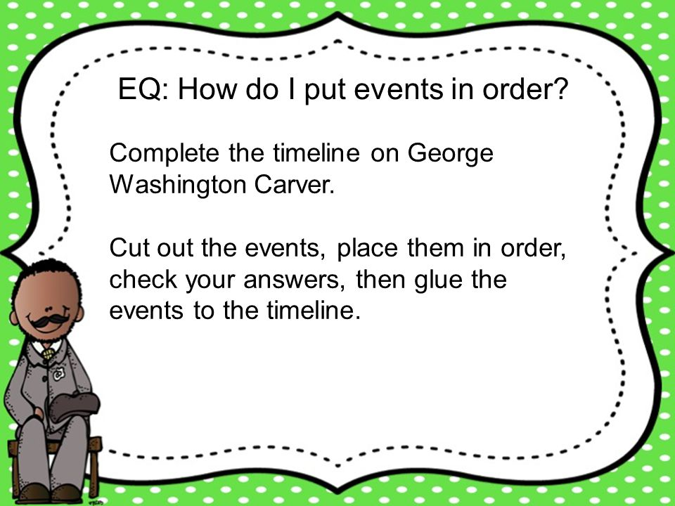EQ: How do I put events in order? Complete the timeline on George Washington Carver. Cut out the events, place them in order, check your answers, then