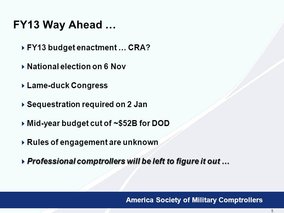 5 Booz Allen Hamilton Proprietary America Society of Military Comptrollers FY13 Way Ahead …  FY13 budget enactment … CRA.