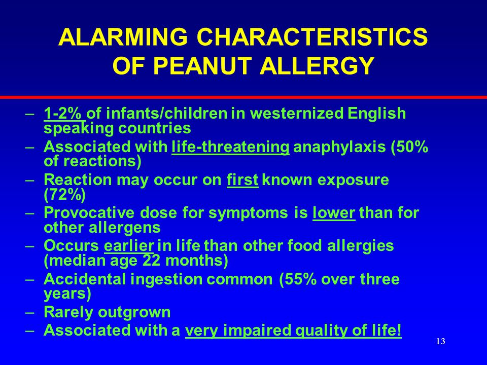 13 ALARMING CHARACTERISTICS OF PEANUT ALLERGY –1-2% of infants/children in westernized English speaking countries –Associated with life-threatening anaphylaxis (50% of reactions) –Reaction may occur on first known exposure (72%) –Provocative dose for symptoms is lower than for other allergens –Occurs earlier in life than other food allergies (median age 22 months) –Accidental ingestion common (55% over three years) –Rarely outgrown –Associated with a very impaired quality of life.