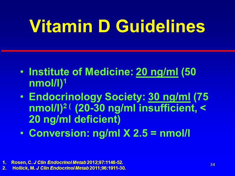 34 Vitamin D Guidelines Institute of Medicine: 20 ng/ml (50 nmol/l) 1 Endocrinology Society: 30 ng/ml (75 nmol/l) 2 ( (20-30 ng/ml insufficient, < 20 ng/ml deficient) Conversion: ng/ml X 2.5 = nmol/l 1.Rosen, C.
