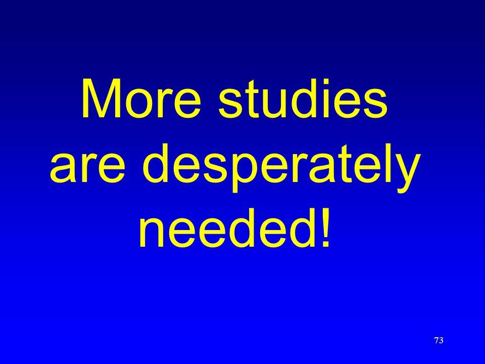 73 More studies are desperately needed!
