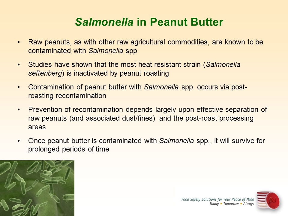 Raw peanuts, as with other raw agricultural commodities, are known to be contaminated with Salmonella spp Studies have shown that the most heat resist