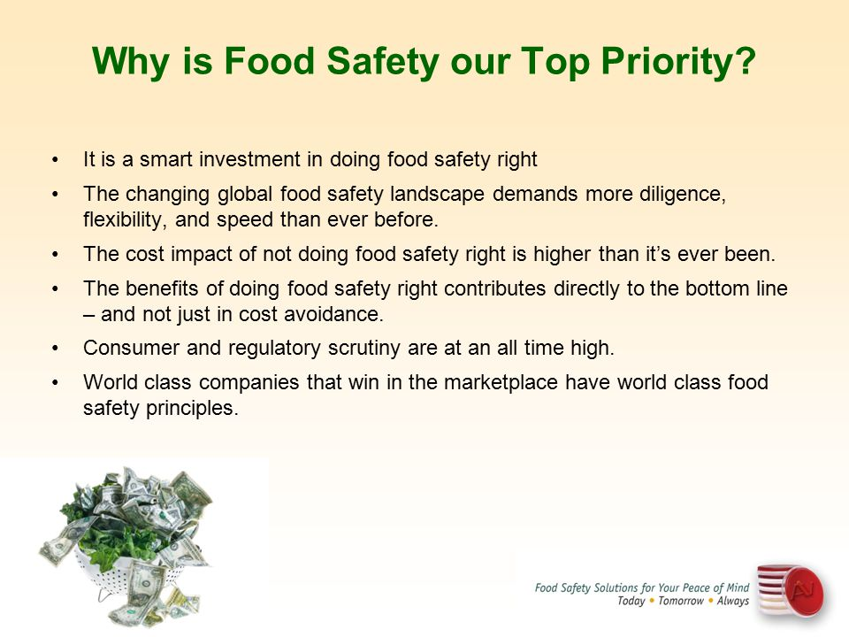 Why is Food Safety our Top Priority? It is a smart investment in doing food safety right The changing global food safety landscape demands more dilige