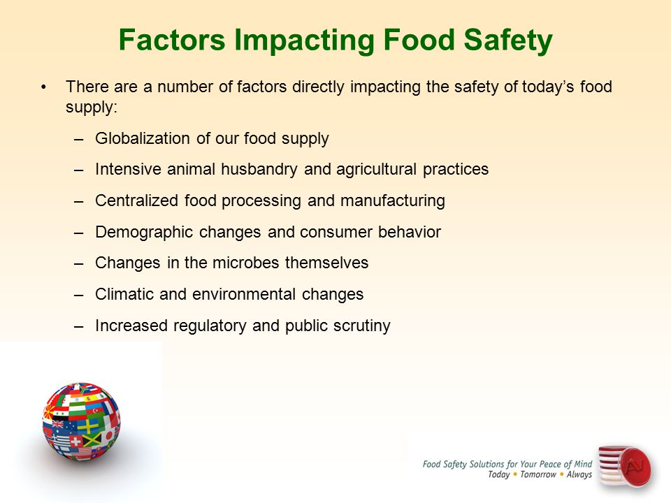 Factors Impacting Food Safety There are a number of factors directly impacting the safety of today's food supply: –Globalization of our food supply –I