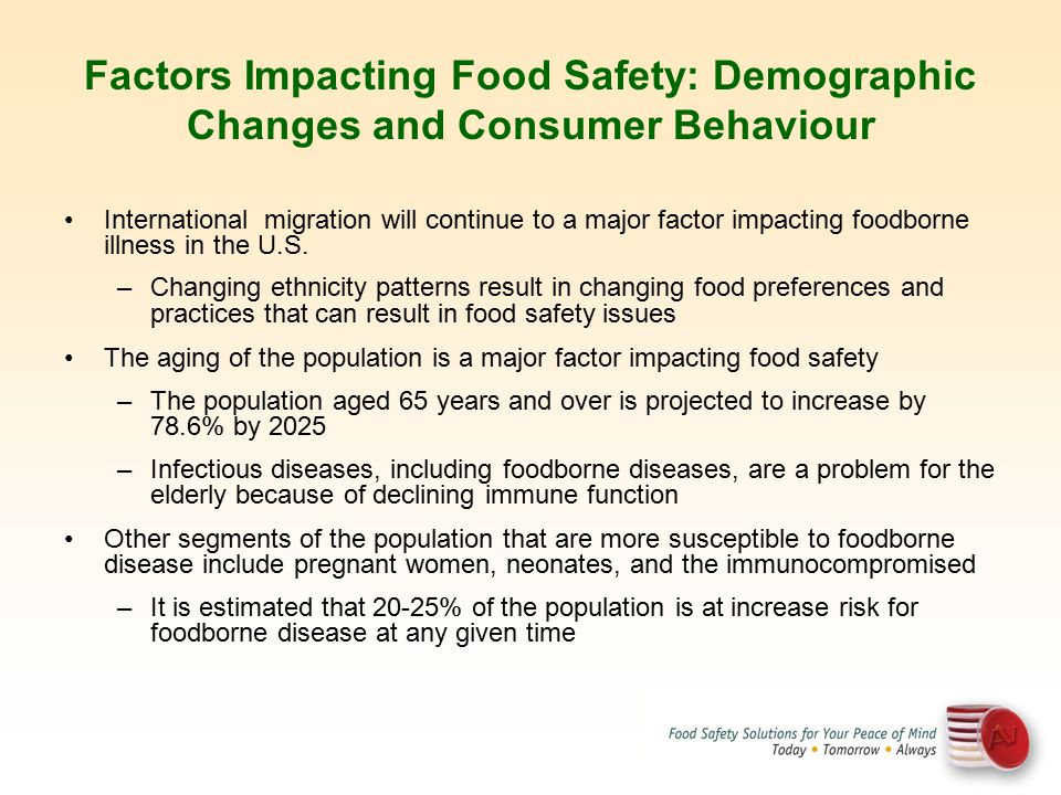 Factors Impacting Food Safety: Demographic Changes and Consumer Behaviour International migration will continue to a major factor impacting foodborne