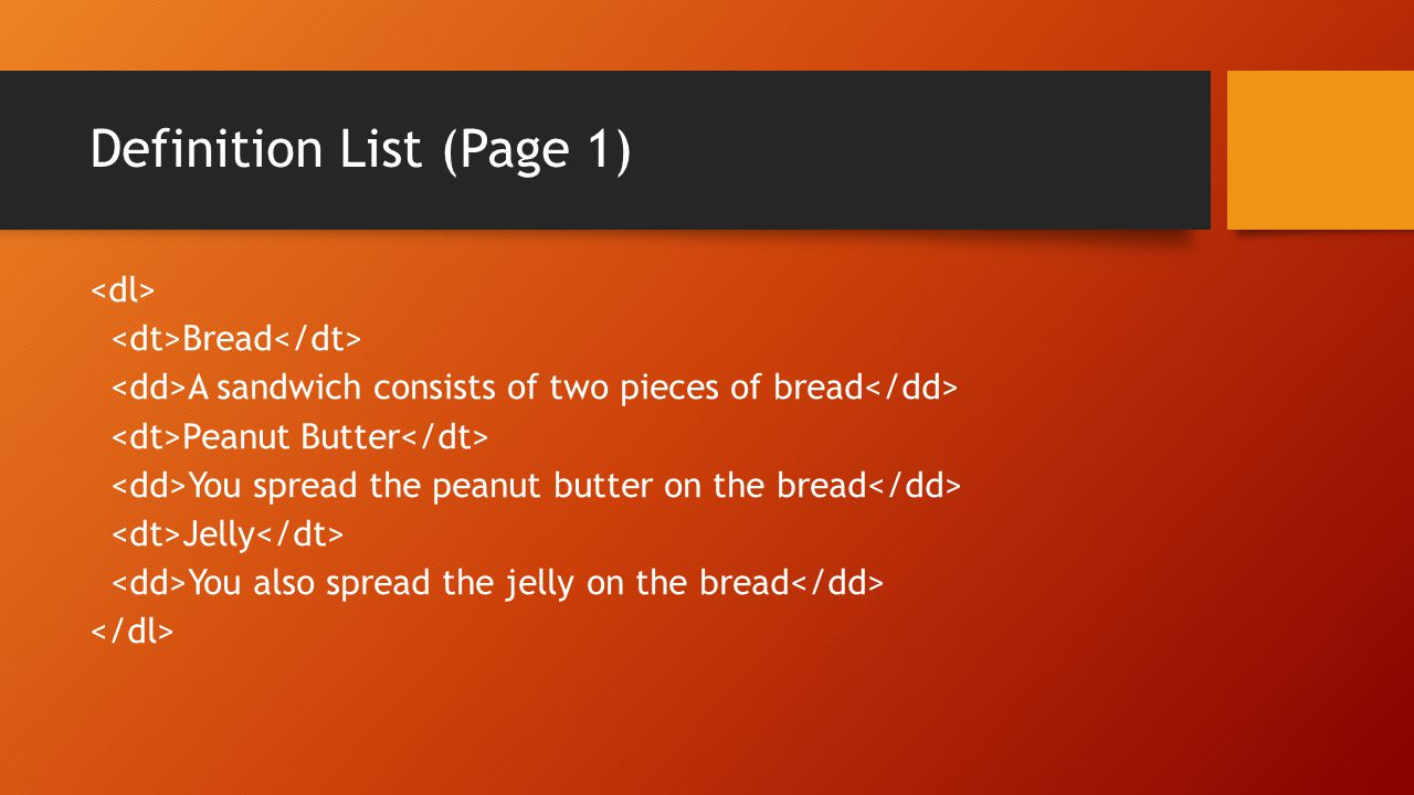 Definition List (Page 2) Bread A sandwich consists of two pieces of bread Peanut Butter You spread the peanut butter on the bread Jelly You also spread the jelly on the bread