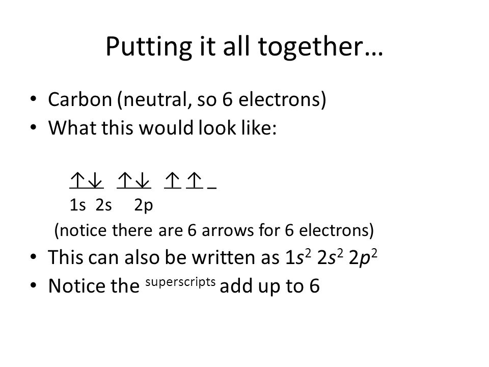 Putting it all together… Carbon (neutral, so 6 electrons) What this would look like: ↑↓ ↑↓ ↑ ↑ _ 1s 2s 2p (notice there are 6 arrows for 6 electrons)
