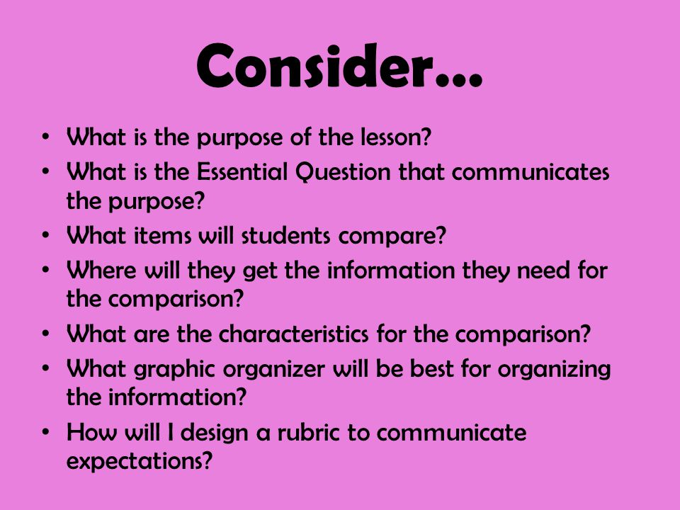 Consider… What is the purpose of the lesson? What is the Essential Question that communicates the purpose? What items will students compare? Where wil