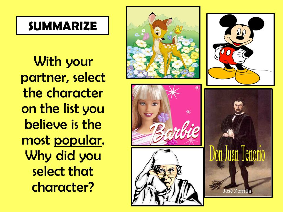 With your partner, select the character on the list you believe is the most popular. Why did you select that character? SUMMARIZE