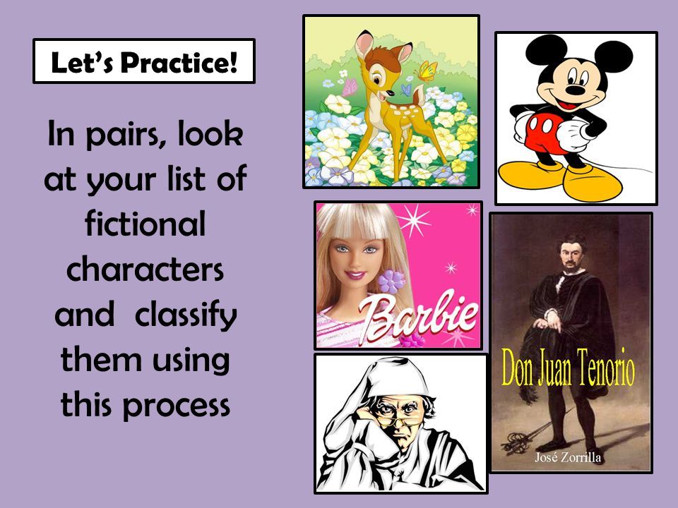 In pairs, look at your list of fictional characters and classify them using this process Let's Practice!