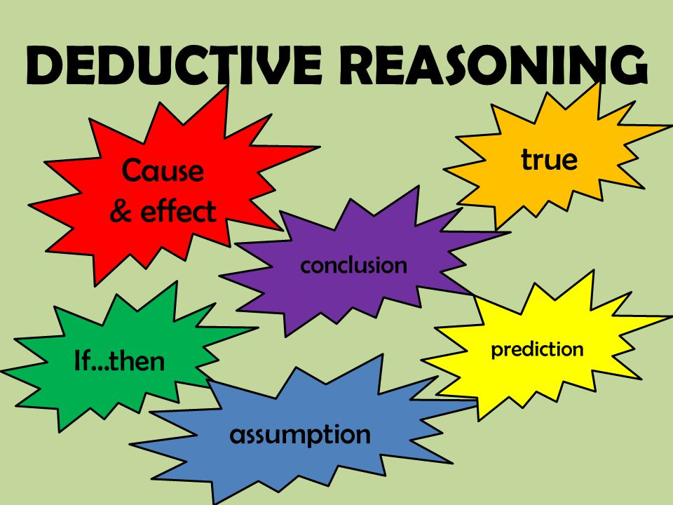 DEDUCTIVE REASONING Cause & effect conclusion If…then assumption true prediction