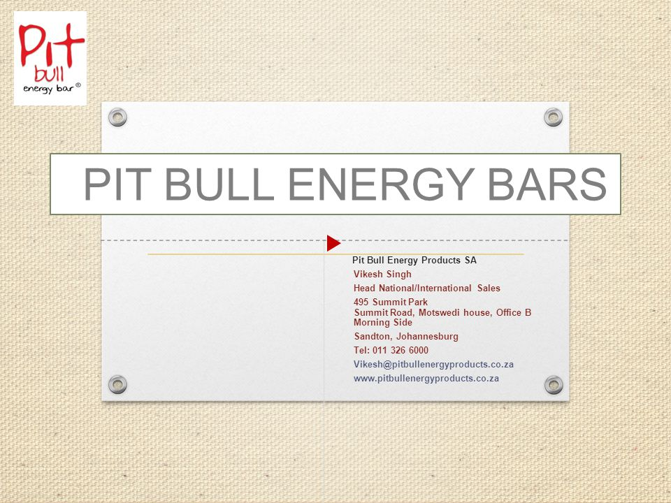 ABOUT PIT BULL ENERGY BARS Pit Bull Energy Bars is the protein bar combining nutritional advantages to help nourish and energize simultaneously.