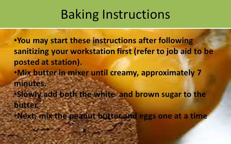 Baking Instructions.