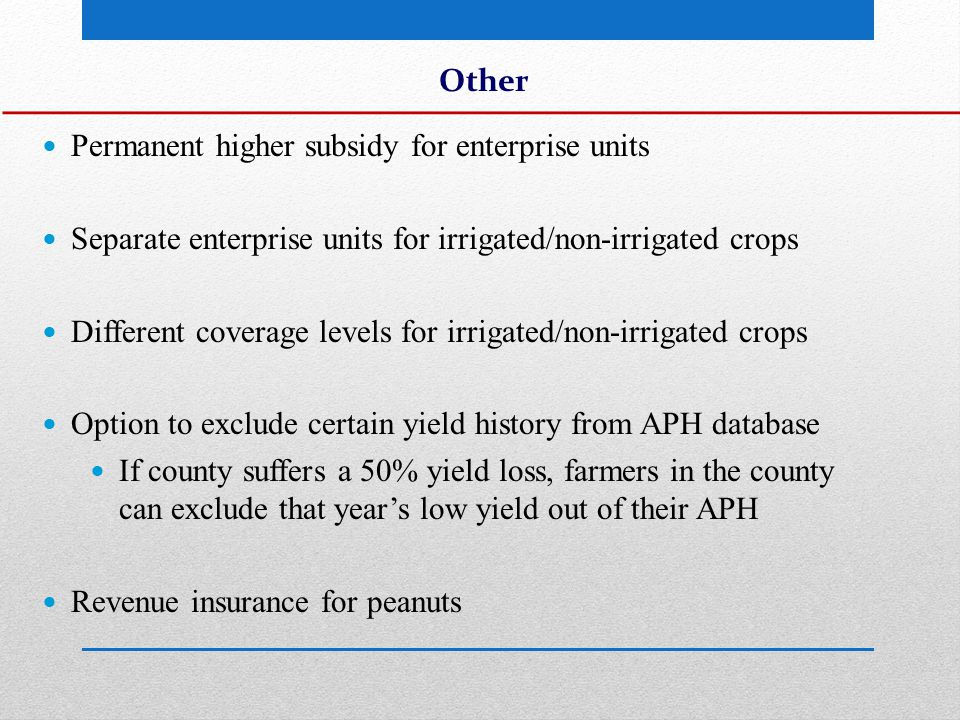 Other Permanent higher subsidy for enterprise units Separate enterprise units for irrigated/non-irrigated crops Different coverage levels for irrigated/non-irrigated crops Option to exclude certain yield history from APH database If county suffers a 50% yield loss, farmers in the county can exclude that year's low yield out of their APH Revenue insurance for peanuts