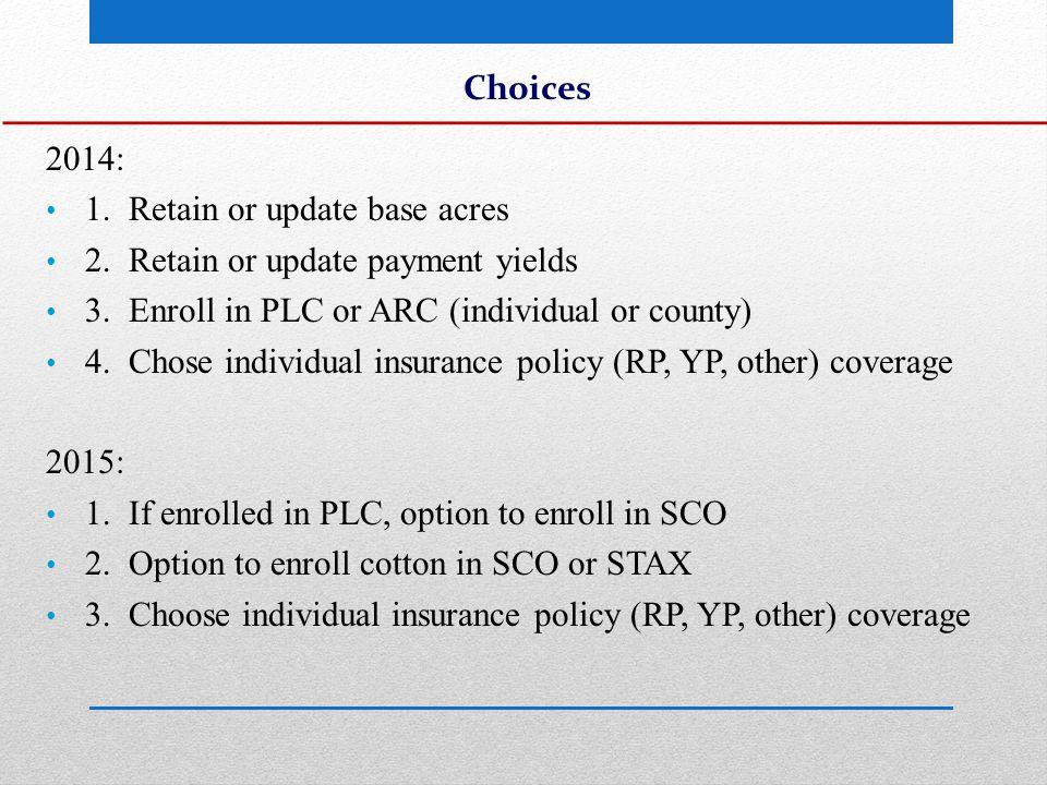 Commodity Program/Crop Insurance Choice