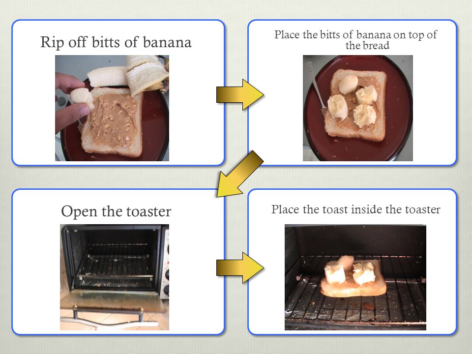 Rip off bitts of banana Place the bitts of banana on top of the bread Place the toast inside the toaster Open the toaster