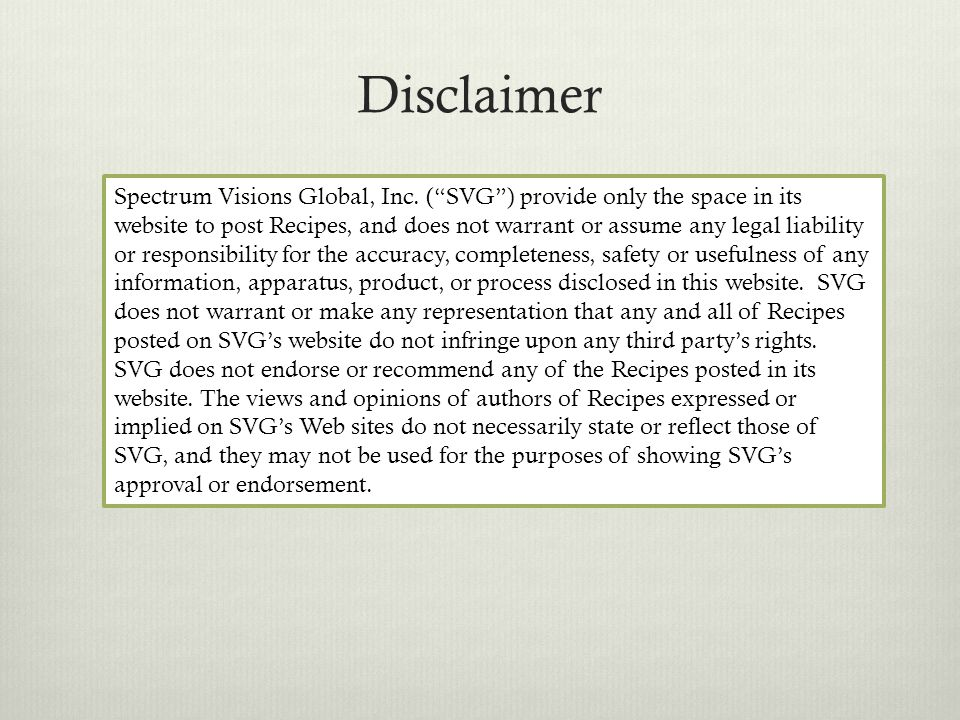 Disclaimer Spectrum Visions Global, Inc.