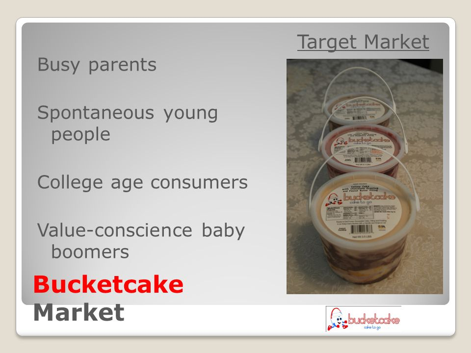 Target Market Busy parents Spontaneous young people College age consumers Value-conscience baby boomers Bucketcake Market