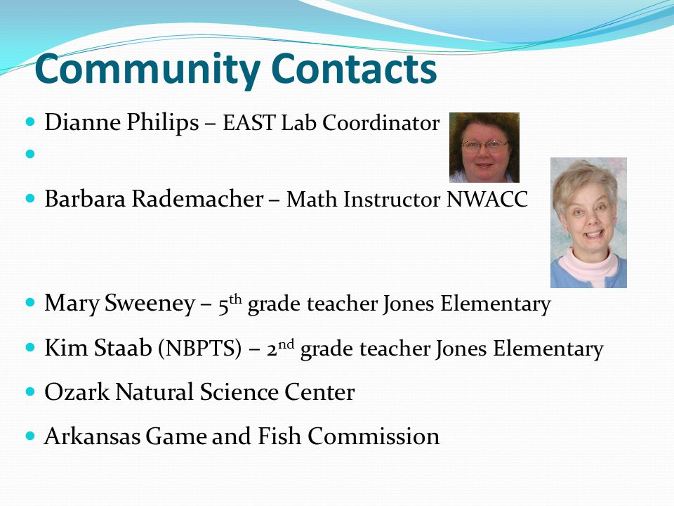 Community Contacts Dianne Philips – EAST Lab Coordinator Barbara Rademacher – Math Instructor NWACC Mary Sweeney – 5 th grade teacher Jones Elementary Kim Staab (NBPTS) – 2 nd grade teacher Jones Elementary Ozark Natural Science Center Arkansas Game and Fish Commission