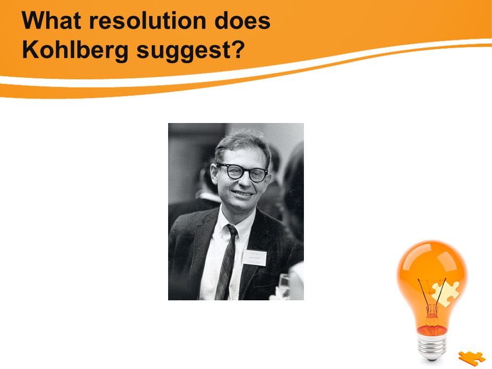 What resolution does Kohlberg suggest
