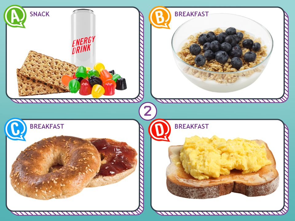 Scrambled eggs on toast Examples: apple, slice of Cheddar cheese NO Grain Products Meat and Alternatives You need at least 3 food groups at breakfast.
