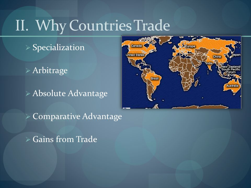 II. Why Countries Trade  Specialization  Arbitrage  Absolute Advantage  Comparative Advantage  Gains from Trade