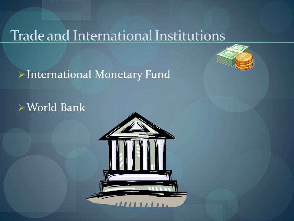 Trade and International Institutions IInternational Monetary Fund WWorld Bank
