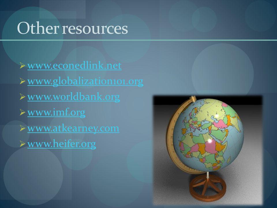 Other resources  www.econedlink.net www.econedlink.net  www.globalization101.org www.globalization101.org  www.worldbank.org www.worldbank.org  ww