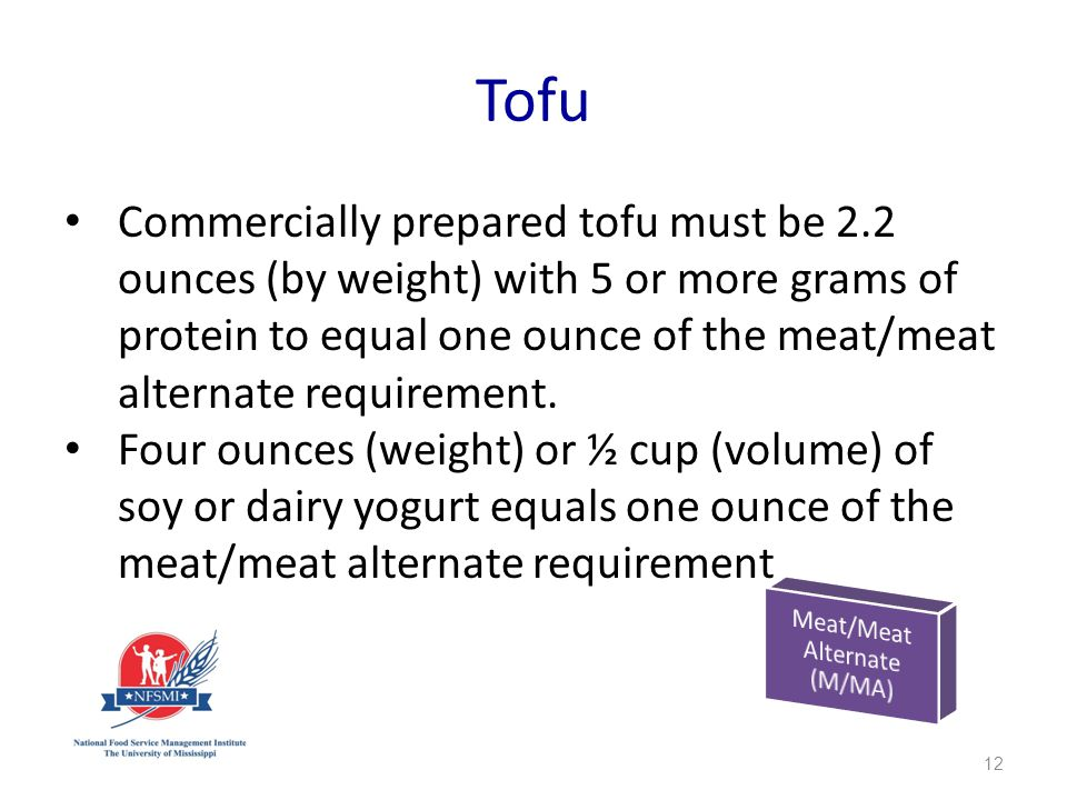 Tofu Commercially prepared tofu must be 2.2 ounces (by weight) with 5 or more grams of protein to equal one ounce of the meat/meat alternate requirement.